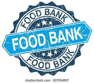 food bank blue round grunge stamp on white