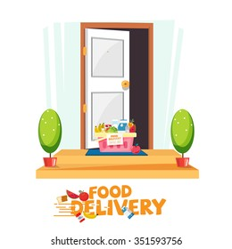 food in basket in front of the door. delivery food service concept. e-commerce - vector illustration