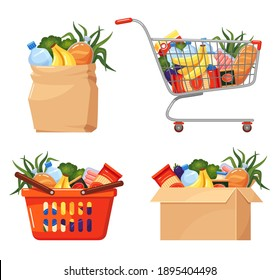 Food basket. Grocery packaging, paper bag, cardboard box, shopping cart with foodstuff set. Direct-to-doorstep delivery, online ordering service. Vector collection isolated on white background.