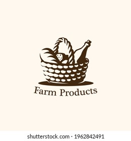 Food basket logo . Vector illustration. Black and white vector objects.