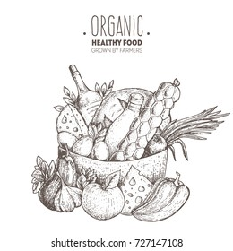 Food basket vector illustration. Farmers products. Farm market label. Organic healthy food logo. Hand drawn design for packaging. Engraved image.