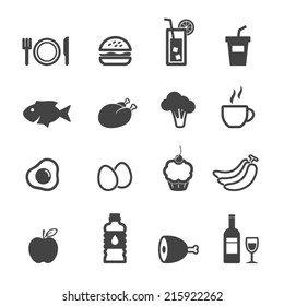 food and beverage icons, mono vector symbols