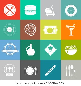 Food and beverage icons, restaurant menu, drink coffee
