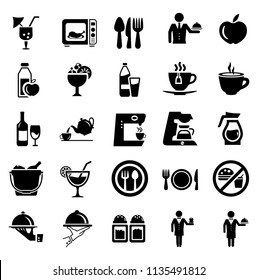 Food and beverage icons, restaurant menu, drink coffee, healthy food