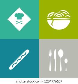Food and beverage icons, restaurant menu, drink coffee