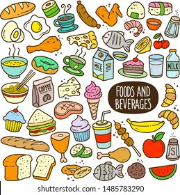 Food and beverages doodle drawing collection. Food and beverages such as bread, egg, fruits, cookie, meat etc. Hand drawn vector doodle illustrations in colorful cartoon style.