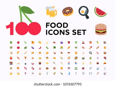 Food and beverages, fruits, vegetables, fast foods, cakes, restaurant, cafe vector illustration flat icons, symbols, emoticons, emojis, stickers set, collection