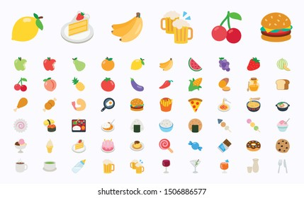 Food and Beverages Vector Illustration Icons Set. Fruits, vegetables, fast foods, cakes, restaurant, cafe vector illustration flat icons, symbols, emoticons, emojis, stickers set, collection - Vector