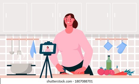 Food blogger. Chef cooking, recording video using camera. Online video channel, stream. Woman teaches cooking new recipe. Video tutorial, culinary show, vlog. Flat cartoon vector illustration.