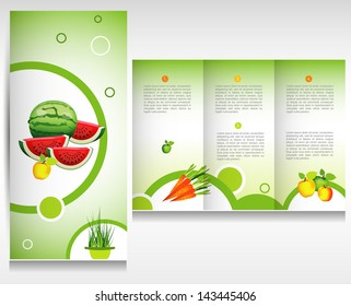 Food brochure design. Health bio fruit and vegetable.
