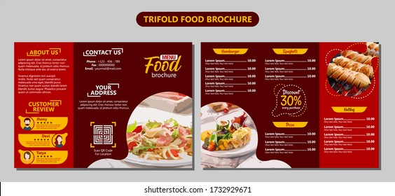 Food Brochure Trifold Red Background List Menu