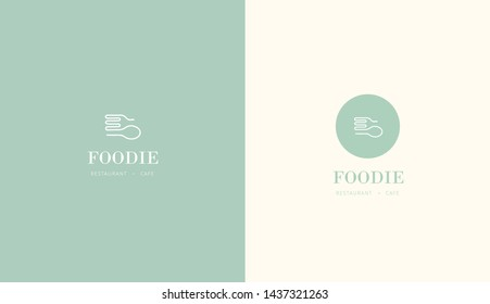 food cafe restaurant logo. spoon and fork mixture design in green color