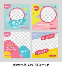 Food and cakes post social media template