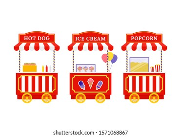 Food cart. Vector. Ice cream, Hot dog, Popcorn street trolley. Vintage kiosk stand in amusement park. Circus carnival stall. Flat design. Festival pushcart. Cartoon illustration. Outdoor shop, booth