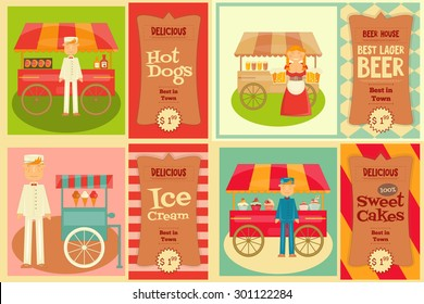 Food Cart with Vendor - Set of Mini Posters. Vector Illustration.