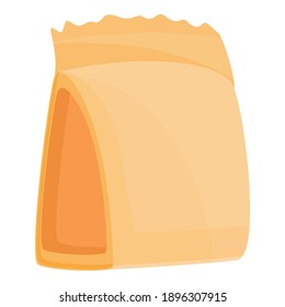 Food carton pack icon. Cartoon of food carton pack vector icon for web design isolated on white background