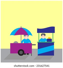 food carts with seller, food stand business competition - vector illustration