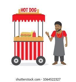 Food Carts with Sellers Vector Illustration Isolated on White Background. Street Food Market Store. Vendor Hot Dogs