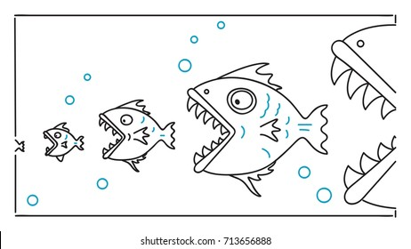 Food chain, big fish eat and chase smaller one, metaphor to business concept in big business win small entrepreneur. Outline, thin art line, linear, doodle, cartoon, hand drawn sketch design.