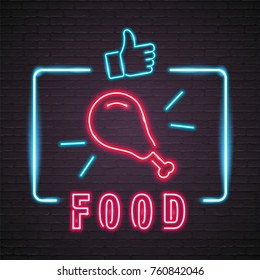 Food Chicken Leg Symbol and Like Icon Neon Light Glowing Graphic Vector Illustration