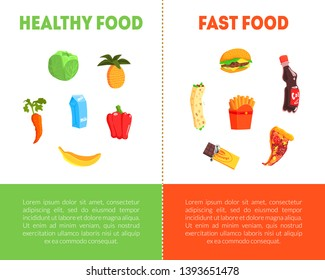 Food Choice, Healthy and Junk Food Banner Template with Place for Text, Fresh Vegetables or Fast Food Vector Illustration