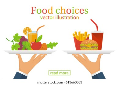 Food choice. Healthy and junk eating. A man is holding a tray organic products and fast food. Diet decision concept and nutrition. Fresh fruit and vegetables or greasy cholesterol. Vector flat design.