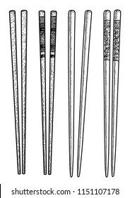 Food chopsticks set illustration, drawing, engraving, ink, line art, vector