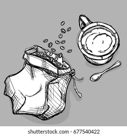 food coffee bag coffee bean set drawing graphic illustrate objects