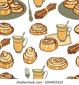 Food collection Afternoon tea with cinnamon buns Seamless pattern