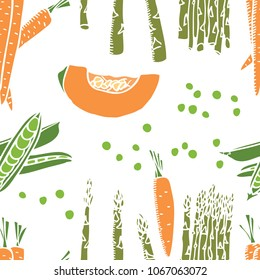 Food collection Carrots and peas Seamless pattern