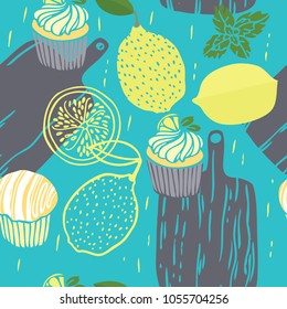 Food collection The cutting boards Lemon muffins and lemons Hand drawn Seamless pattern