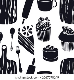 Food collection The cutting boards Muffins Seamless pattern