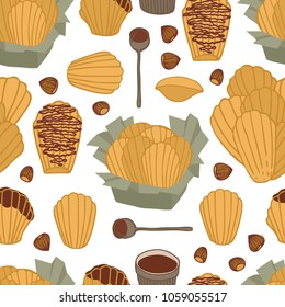 Food collection Delicious chocolate madeleines with Hazelnut Seamless pattern