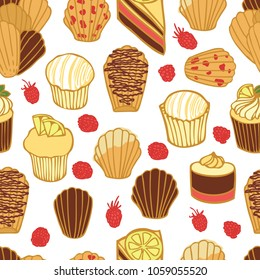 Food collection Delicious chocolate madeleines, cupcakes and cakes Seamless pattern