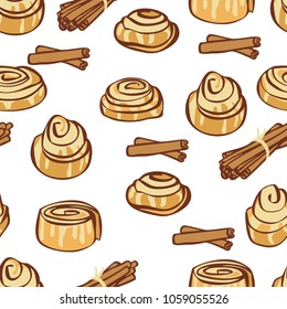 Food collection Delicious cinnamon buns and cinnamon sticks Seamless pattern