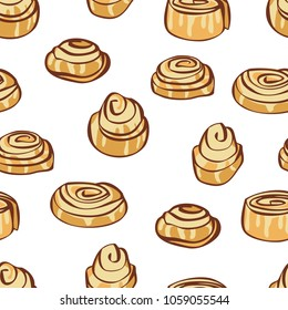 Food collection Delicious cinnamon buns Seamless pattern
