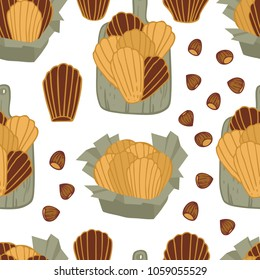 Food collection Delicious madeleines with Hazelnut Seamless pattern