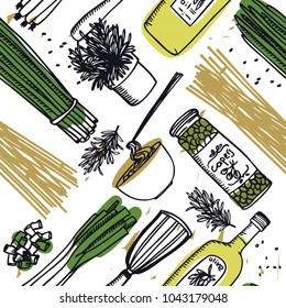 Food Collection Delicious pasta, white capers and olive oil Seamless pattern