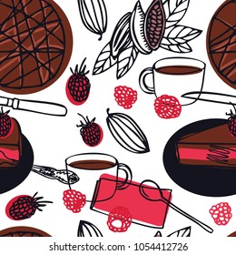 Food collection Delicious raw vegan cake with raspberries Cocoa beans Seamless pattern