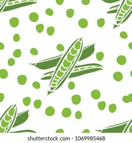 Food collection Fresh delicious peas Seamless pattern