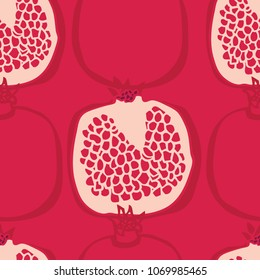 Food collection Fresh delicious pomegranates Seamless pattern