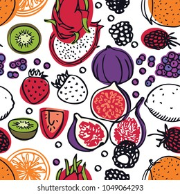 Food collection Fresh dragon fruits, strawberries, raspberries and figs Seamless pattern