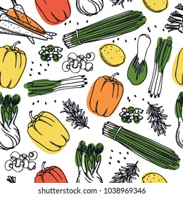 Food Collection Fresh vegetables Seamless pattern