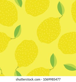 Food collection Funny lemons Hand drawn Yellow background