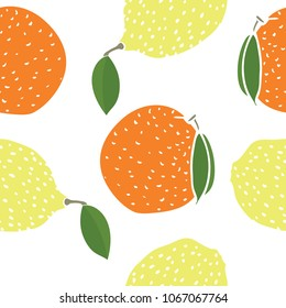 Food collection Lemons and oranges Seamless pattern