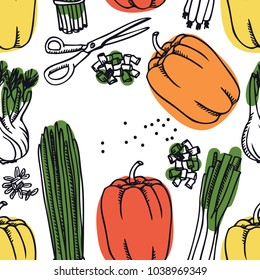 Food Collection Mix of Sweet Peppers and spring onion Seamless pattern