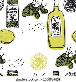 Food Collection Olive oil and capers Seamless pattern