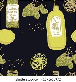 Food Collection Olive oil and capers black background Seamless pattern