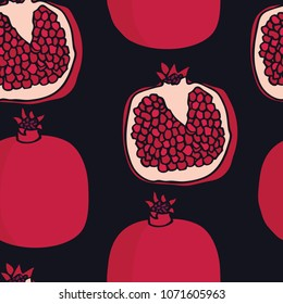 Food collection Pomegranates Black background Seamless pattern