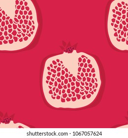 Food collection Pomegranates Red background Seamless pattern